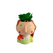 Vaso de cerâmica com planta artificial 13 cm