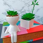 Vaso bob em cerâmica com planta artificial 17 cm