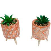 Vaso de cerâmica com pé planta artificial 14 cm