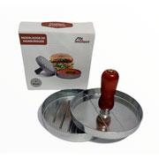 Modelador de hamburguer de metal com cabo de madeira