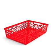 Cesta organizadora rasa vermelha 42x29 cm