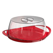 Porta bolo vermelho translucido 30 cm