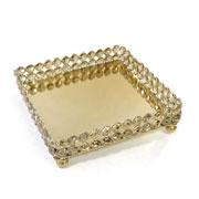 Bandeja quadrada de cristal com espelho 20 cm