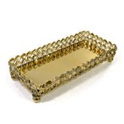 Bandeja de cristal dourada com espelho 27,5x12 cm