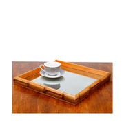 Bandeja de bambú com espelho 27x27x4 cm
