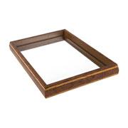 Bandeja com espelho bisote prateado 47x27 cm