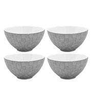 Jogo de bowls em porcelana Vera prata 04 peças