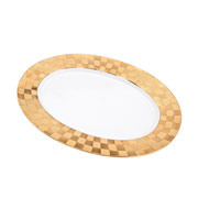 Travessa de porcelana oval Vera dourada 35x25 cm