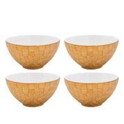 Jogo de bowls em porcelana Vera dourada 04 peças