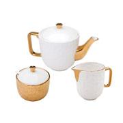 Conjunto de porcelana para chá Vera dourado 03 peças