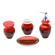 Jogo para Banheiro de cerâmica Vertigo vermelho e preto 04 peças