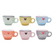 Jogo de xicara de café colors Love 80 ml 06 peças