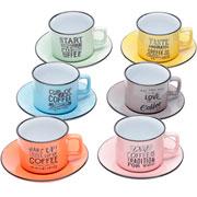 Jogo de xícara para chá Coloridas com pires 220 ml 12 peças