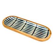 Travessa de madeira Leafage azul 40 cm