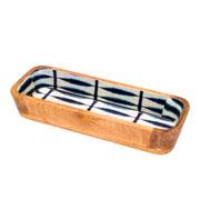 Travessa de madeira Leafage azul 29 cm