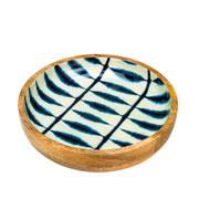Bowl de madeira Leafage azul 25 cm