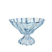 Centro de mesa de cristal Paradise azul com pé 18 cm