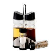 Galheteiro de vidro preto Doantello 05 peças