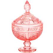 Potiche de cristal princess rosa com pé 24 cm