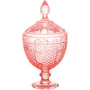 Potiche de cristal princess rosa com pé 28 cm