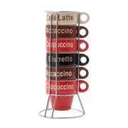Jogo de xícara de café Name com suporte 70 ml  06 peças