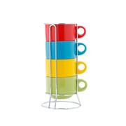 Jogo de xícara de chá colors com suporte 60 ml 04 peças