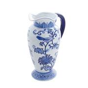 Vaso ornamental azul e branco ramos 21x14x29 cm