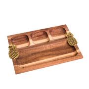 Petisqueira de madeira abacaxi dourado 28 cm