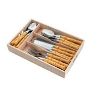 Faqueiro de inox / bamboo 24 peças