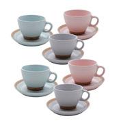 Conjunto de xicaras c/ pires romance para chá 12 peças