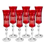 Jogo 06 taças de cristal para champagne ruby 190 ml