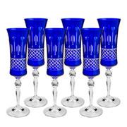 Jogo 06 taças de cristal para champagne azul 190 ml