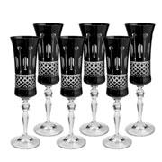 Jogo 06 taças de cristal para champagne preta 190 ml
