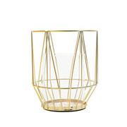 Castiçal de metal e vidro dourado 15x17 cm