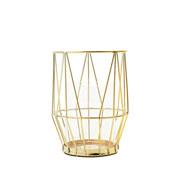 Castiçal de metal e vidro dourado 11x15 cm