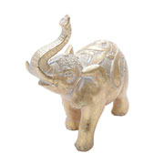 Enfeite em poliresina Elefante dourado 18 cm