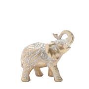 Enfeite em poliresina Elefante dourado 12 cm