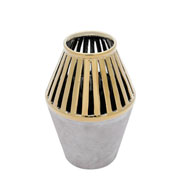 Vaso em cerâmica marrom com dourado 24 cm