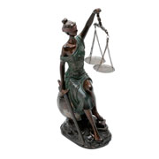 Enfeite de resina dama da justiça bronze 34 cm