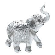 Enfeite de poliresina Elefante prata 22x09x23 cm