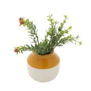Vaso de cerâmica granilite branco 10x09 cm