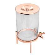 Suqueira de vidro com suporte rose gold