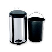 Lixeira inox com pedal e balde decorline preta 12 litros - Brinox