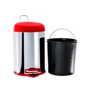 Lixeira com tampa com pedal e balde inox 5 litros vermelho - Brinox