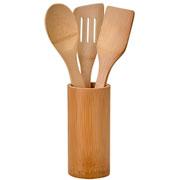 Conjunto utensílios de bambu 04 peças