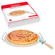 Tábua redonda com suporte para pizza 03 peças - Hauskraft