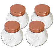 Jogo de potes Herméticos de vidro cobre190 ml 04 peças - Hauskraft