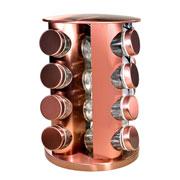 Porta condimentos inox giratório rose gold 16 peças