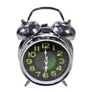 Despertador em metal prata 15 cm