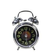 Despertador em metal prata 12 cm
